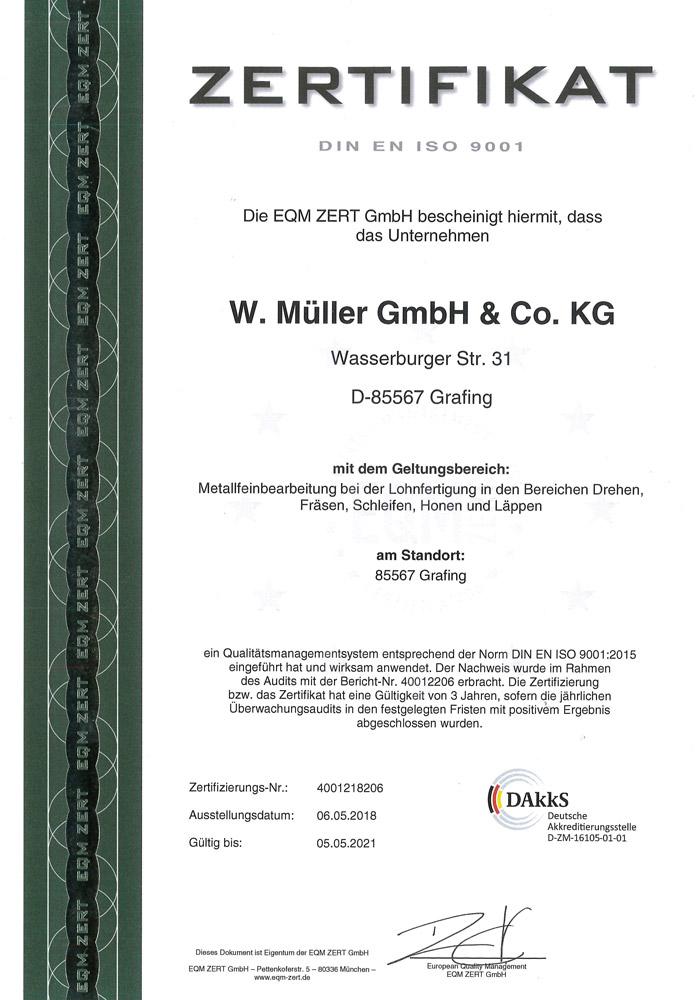 Zertifikat DIN EN ISO 9001 für W. Müller GmbH & Co. KG