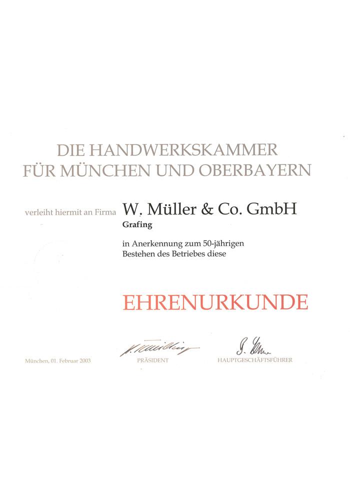 Ehrenurkunde für 50-jähriges Jubiläum von W. Müller & Co. GmbH