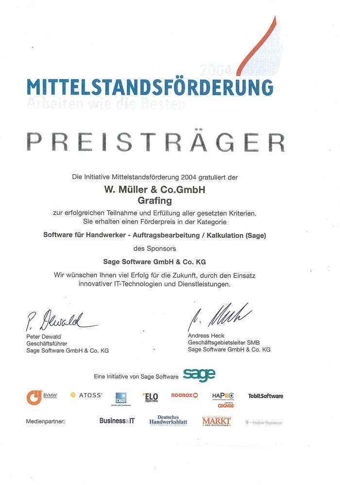 Förderpreis von Sage für W. Müller & Co. GmbH in Grafing